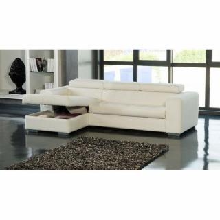 Canapé d'angle gauche SAMUEL convertible lit gigogne en tissu polyuréthane simili façon cuir blanc + méridienne coffre
