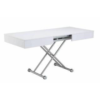 Table basse relevable ALBATROS blanche extensible 8 Couverts