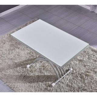 Table basse NEWFORM relevable extensible, plateau en verre extra blanc.