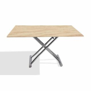 Table basse HIGH and LOW chêne clair relevable extensible Petite taille compacte