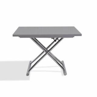 Table basse relevable extensible HIGH and LOW gris laqué brillant. Petite taille compacte.