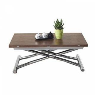 Table basse HIGH and LOW noyer relevable extensible. Petite taille compacte.