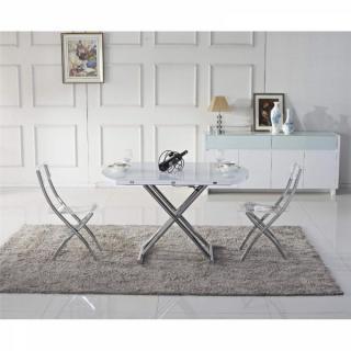 Table basse ronde relevable et extensible PLANET blanche