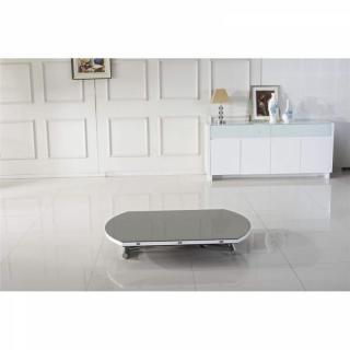 Table basse ronde relevable et extensible PLANET gris clair