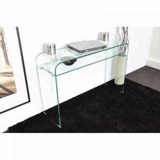 consoles tables et chaises console fixe wave en verre tremp transparent 2 plateaux design. Black Bedroom Furniture Sets. Home Design Ideas