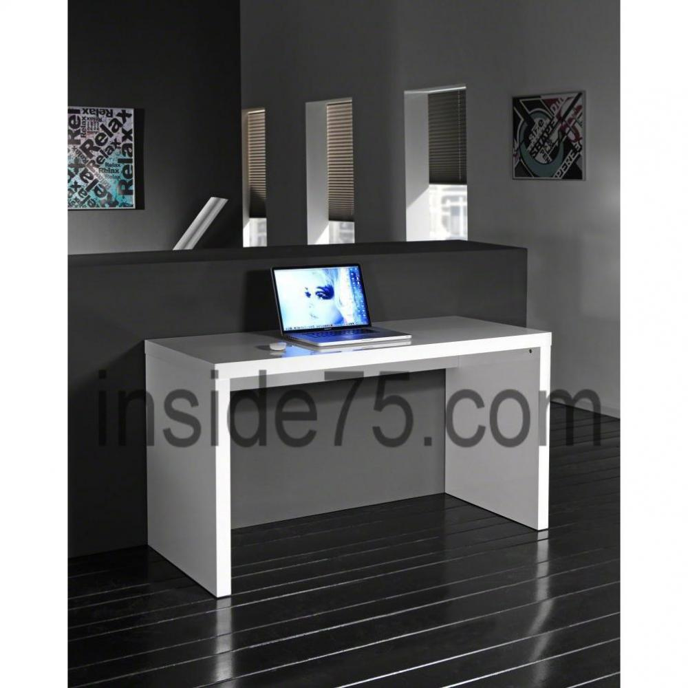 bureaux meubles et rangements bureau design laqu blanc contemporain inside75. Black Bedroom Furniture Sets. Home Design Ideas