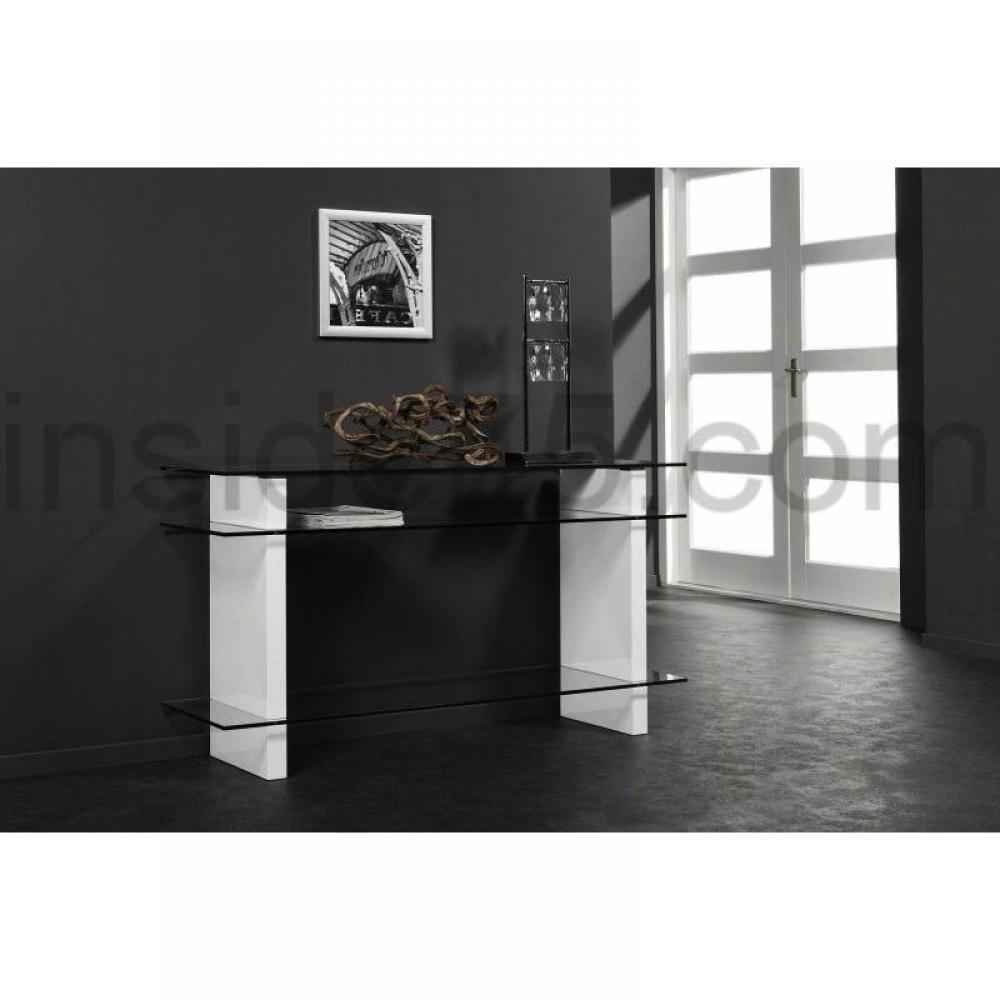 console design ultra tendance au meilleur prix console en verre et laqu e blanche avec 3. Black Bedroom Furniture Sets. Home Design Ideas