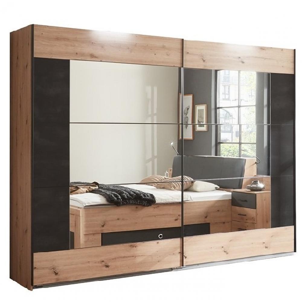 Armoire coulissante BURNABY design 225 cm chêne portes miroir décor graphite