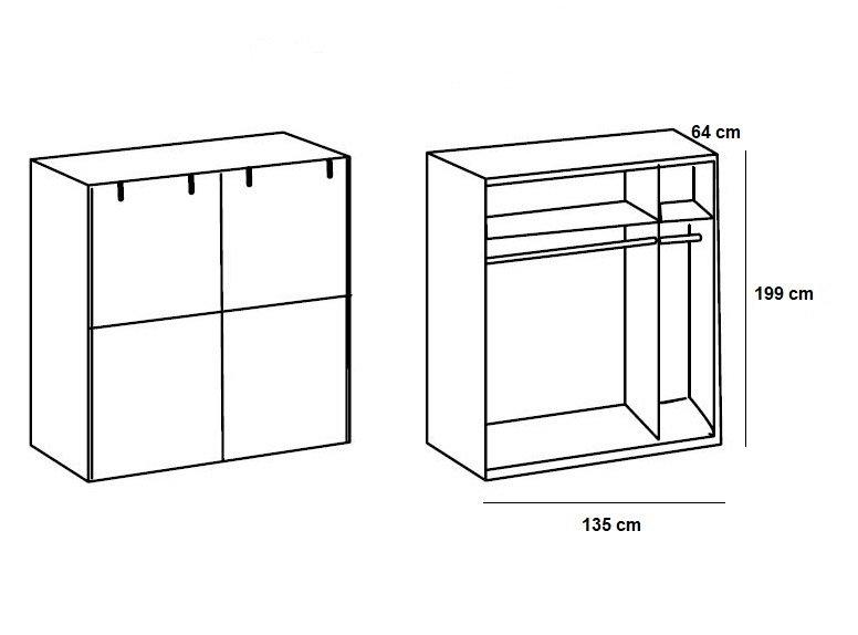 Armoire LISBURN style industriel 135 cm  portes coulissantes chêne poutre graphite