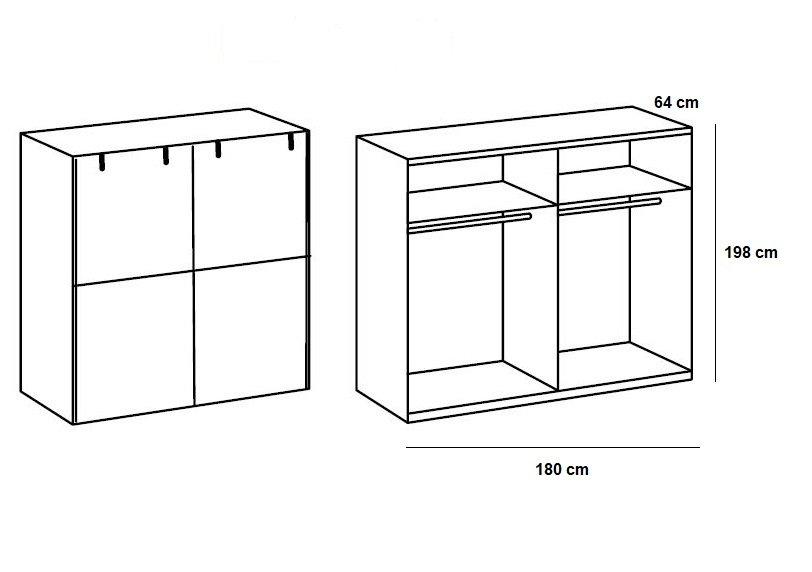 Armoire LISBURN style industriel 180 cm portes coulissantes chêne poutre graphite