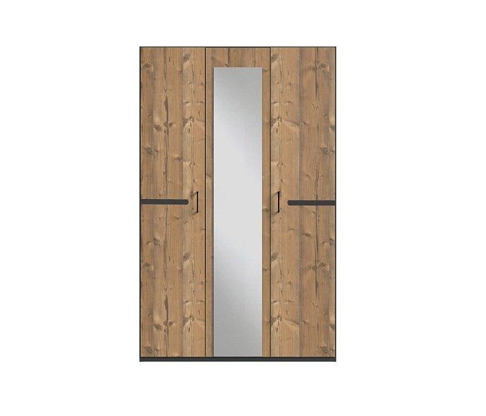Armoire 3 portes 1 miroir CARAMELLA 135 cm chêne silver rechampi chrome brillant.