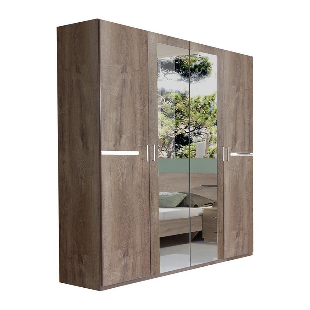 Armoire 4 portes 2 miroirs CARAMELLA 180 cm chêne chataigne