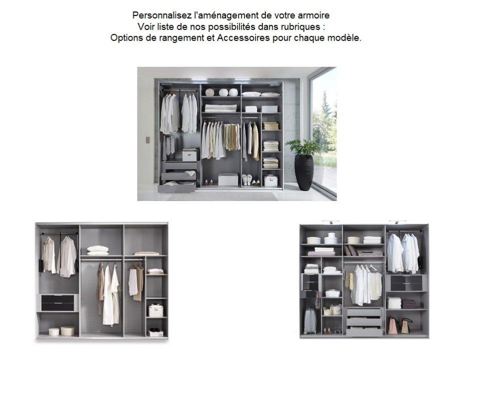 Armoire de rangement DELSON 300 cm graphite 4 portes chêne vieilli 2 miroirs