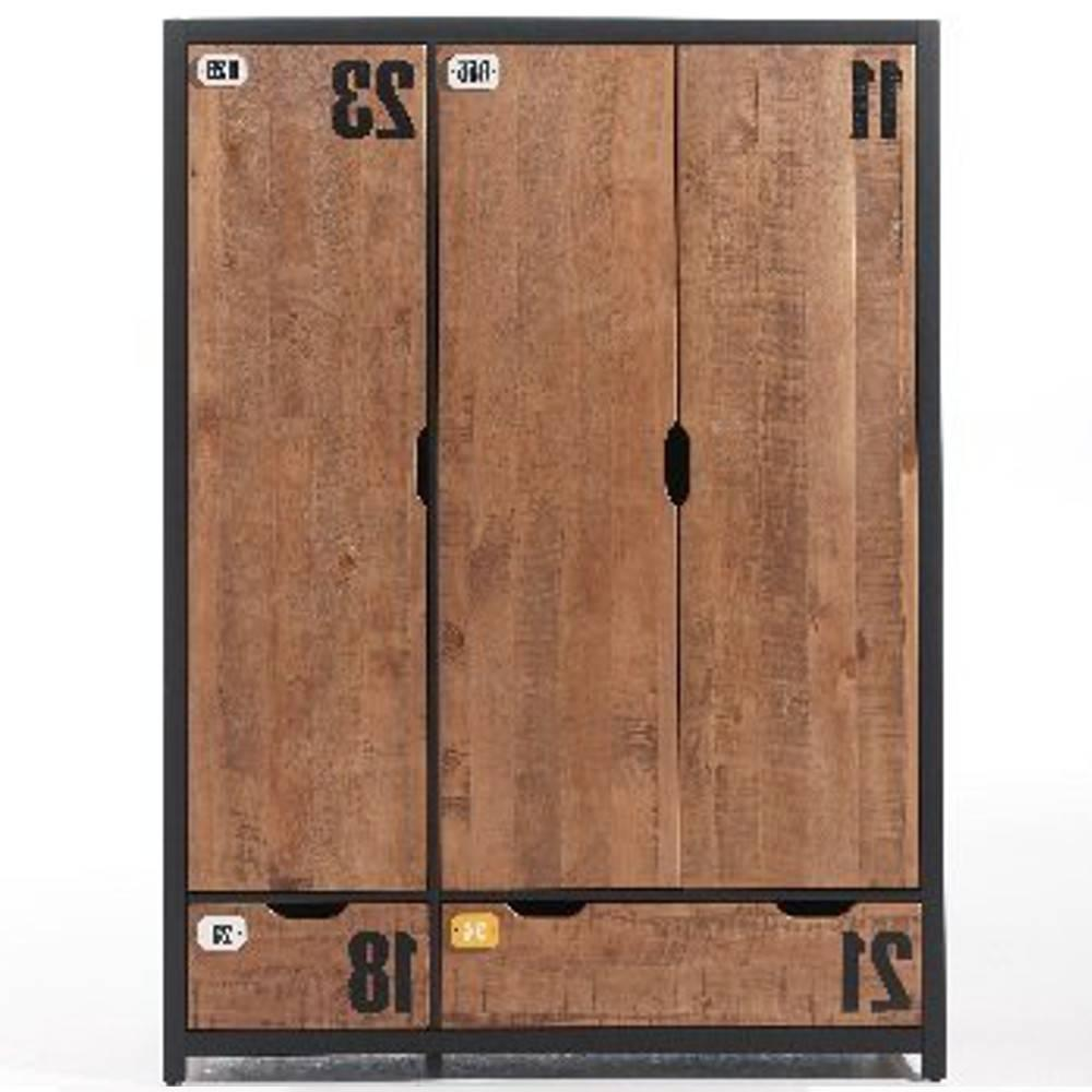 dressings et armoires meubles et rangements armoire alex de style industriel 3 portes et 2. Black Bedroom Furniture Sets. Home Design Ideas
