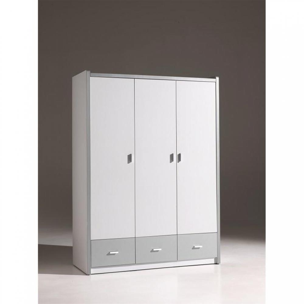 dressings et armoires chambre literie armoire dressing bonny 3 portes blanche et 3 tiroirs. Black Bedroom Furniture Sets. Home Design Ideas