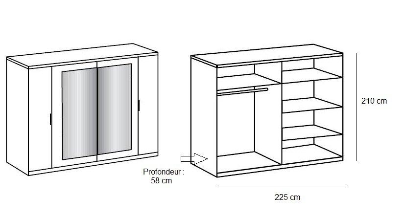 Armoire 1/2 penderie, 1/2 lingère 4 portes EVA largeur 225 chêne châtaigne / blanc