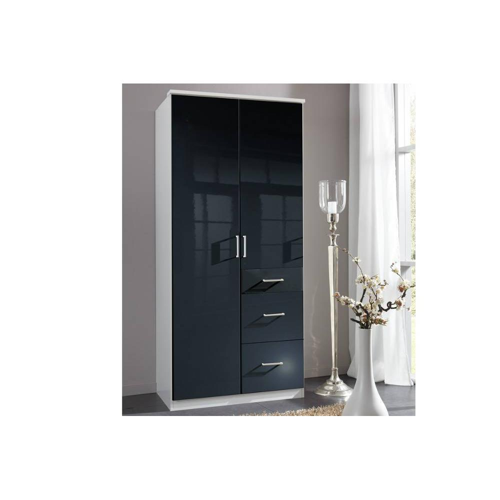 dressings et armoires meubles et rangements armoire penderie cooper noire avec 2 portes. Black Bedroom Furniture Sets. Home Design Ideas