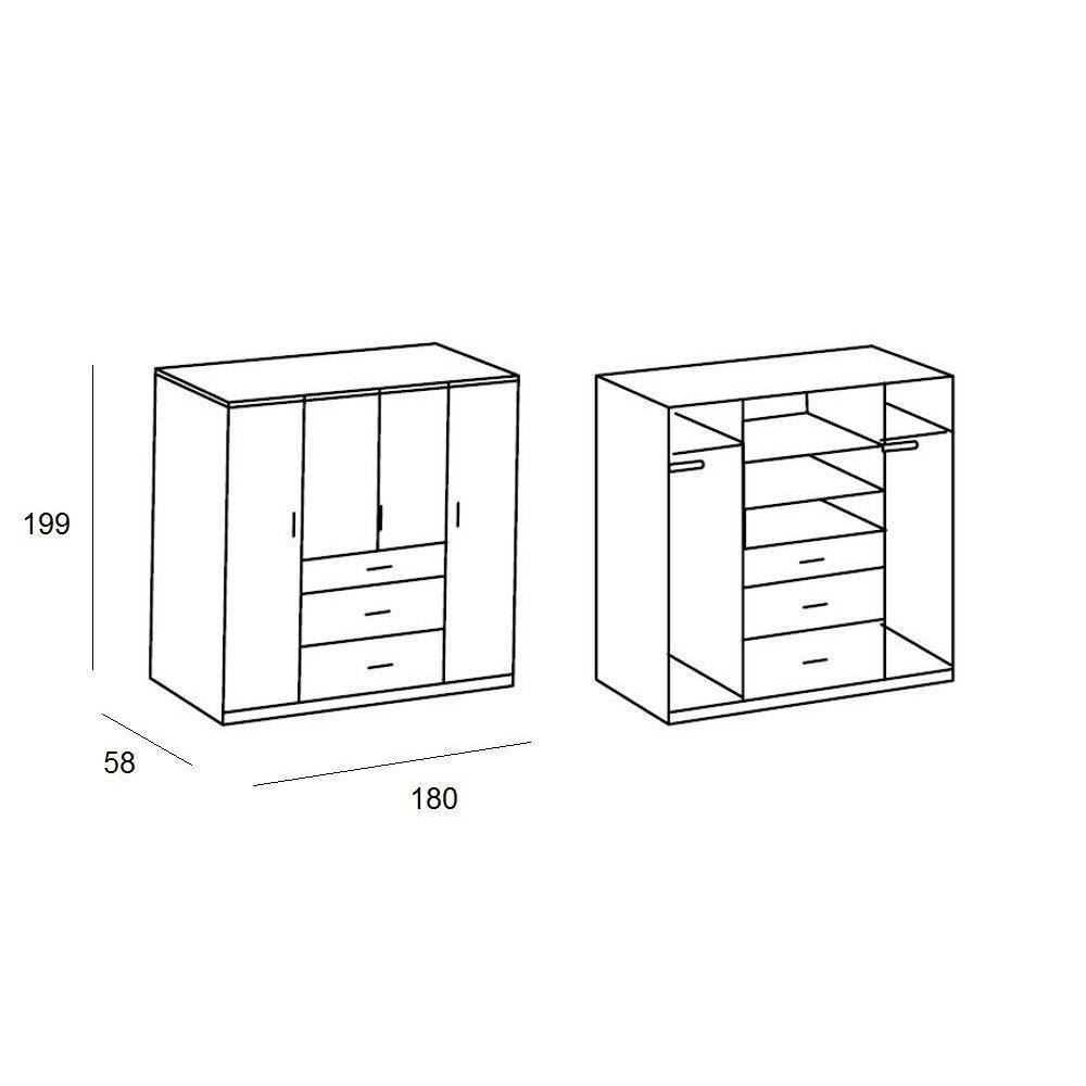 dressings et armoires chambre literie armoire penderie cooper blanche avec 4 portes. Black Bedroom Furniture Sets. Home Design Ideas