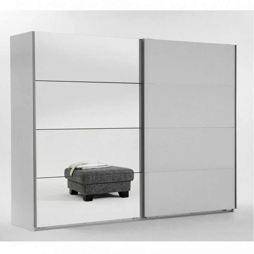 Armoire THALIA 2 portes coulissantes 1 miroir 225 cm blanc
