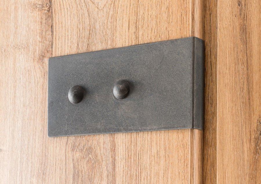 Armoire GALWAY style industriel 135 cm 3 portes 2 tiroirs chêne poutre