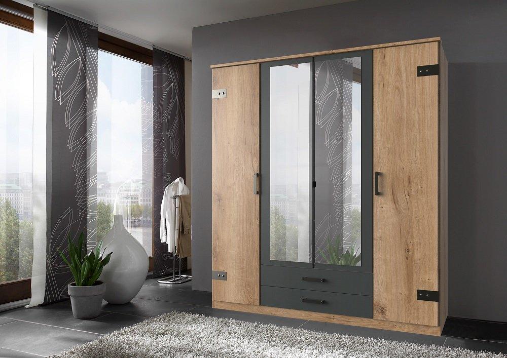 Armoire GALWAY style industriel 180 cm 4 portes 2 tiroirs chêne poutre