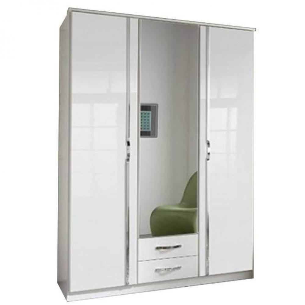 Armoire KROOS 3 portes miroir blanc / laquée blanc brillant