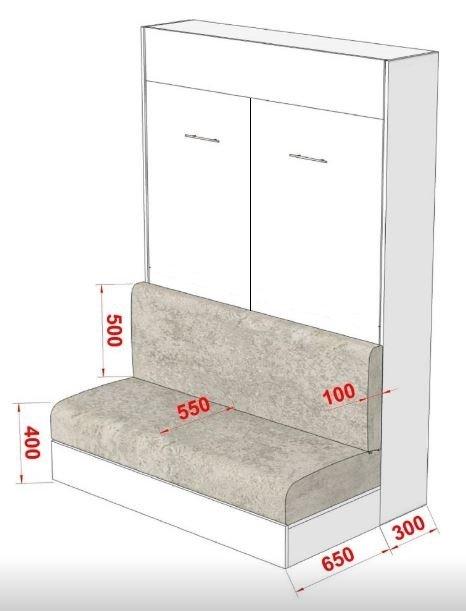 Armoire lit escamotable DYNAMO SOFA canapé intégré blanc mat et microfibre gris couchage 140 x 200 cm