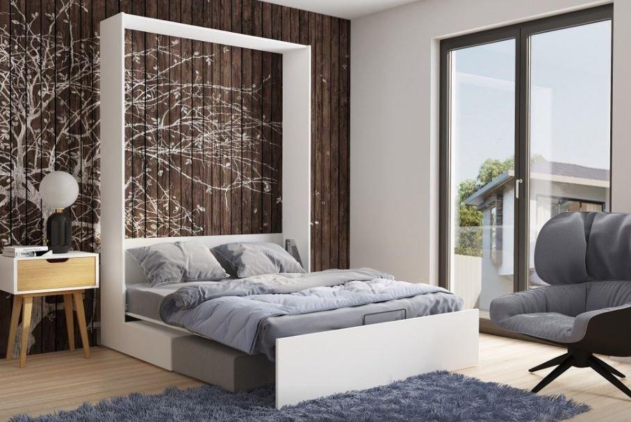 Armoire lit escamotable STUDIO SOFA canapé intégré blanc mat et microfibre gris couchage 140*200 cm