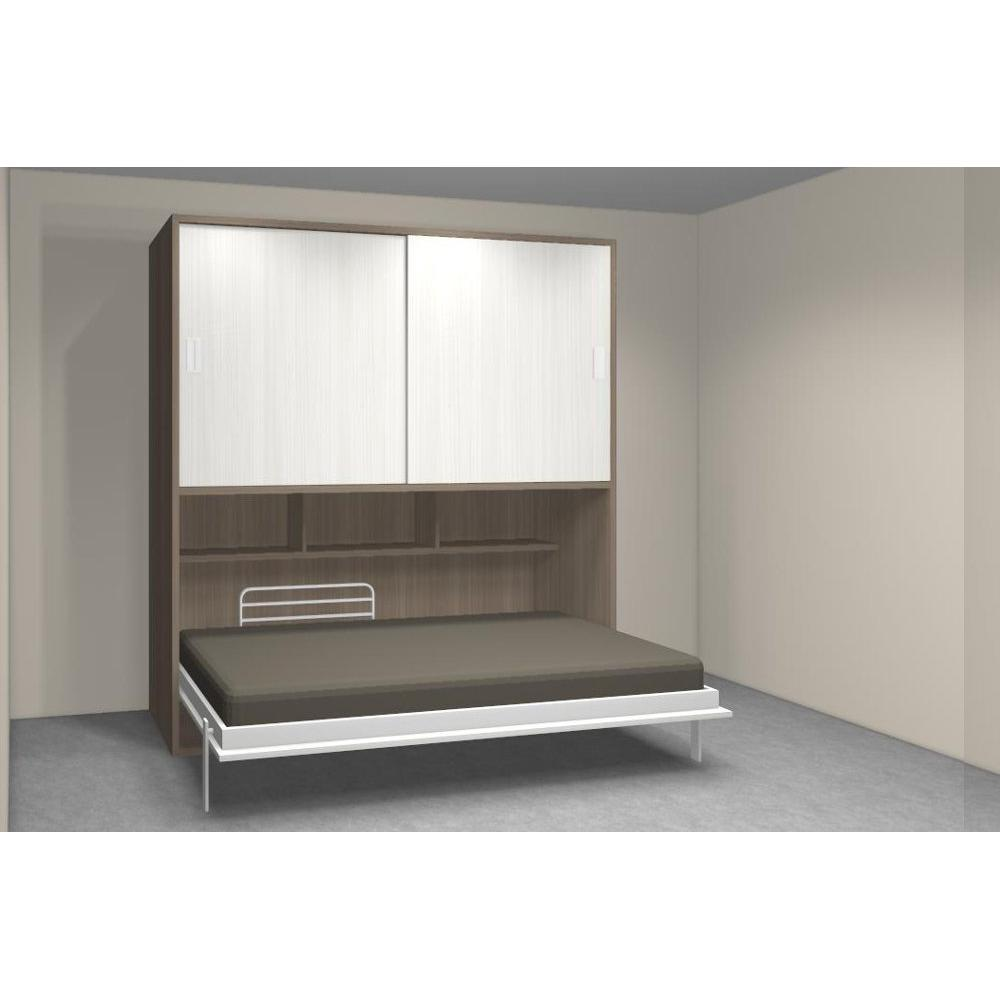 Armoire lit simple escamotable 1 personne au meilleur prix for Lit escamotable bureau integre