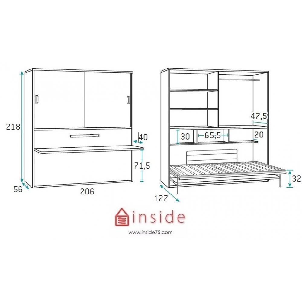 Armoire lit simple escamotable 1 personne au meilleur prix armoire lit trans - Armoire bureau integre ...