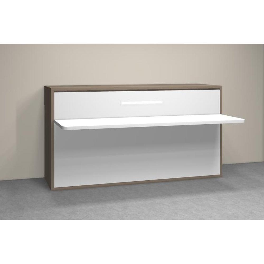 Armoire lit transversale AURORA couchage 90*190cm tablette bureau intégrée