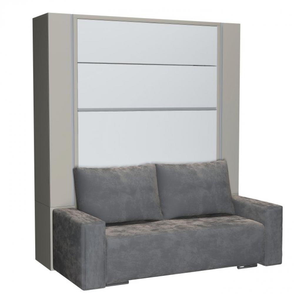 meilleure sélection afd78 beb68 BELUGA SOFA armoire lit escamotable 140cm finiton gris et blanc canapé  microfibre grise