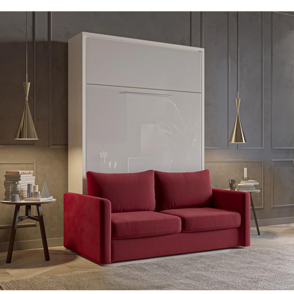 FIDJI SOFA lit escamotable façade blanc brillant canapé tissu rouge 160*200 cm
