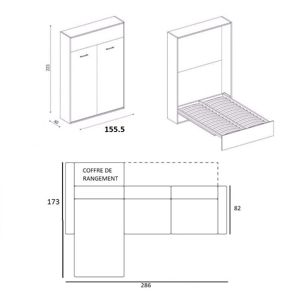 Armoire lit à ouverture assistée TRACCIA canapé intégré et méridienne gauche couchage 140*200 cm