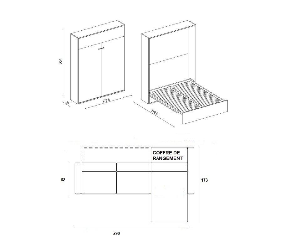 Armoire lit à ouverture assistée TRACCIA canapé intégré et méridienne gauche couchage 160*200 cm