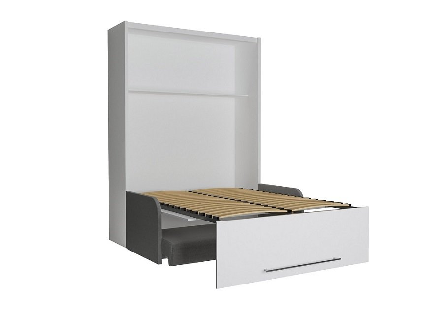 Armoire lit escamotable SPACE SOFA FAST 140 cm canapé accoudoirs gris