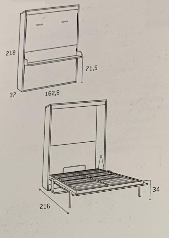 Armoire lit escamotable PRIMO avec bureau intégré Couchage 140x200cm Profondeur 37cm