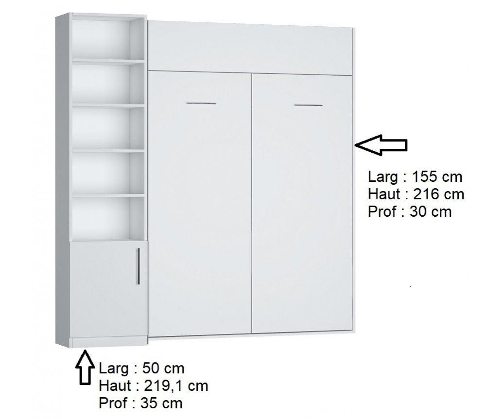 Composition armoire lit DYNAMO blanc mat Couchage 140 x 200 cm colonne bibliothèque