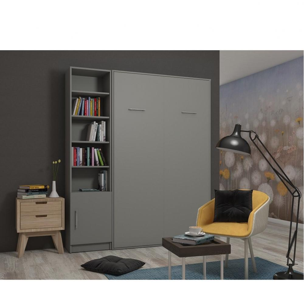 Composition armoire lit escamotable SMART-V2 gris mat Couchage 140 x 200 cm