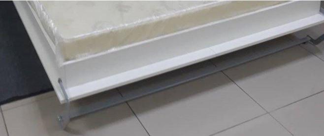 Composition armoire lit escamotable SMART-V2 Taupe mat Couchage 160 x 200 cm colonne bibliothèque