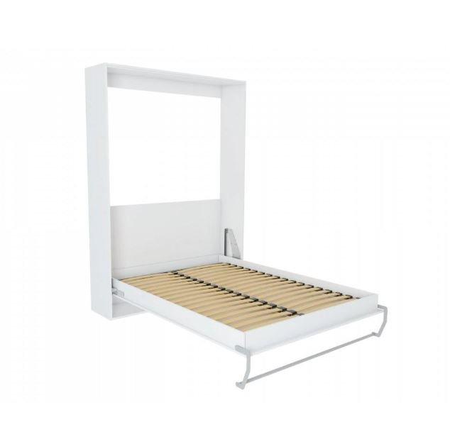 Composition armoire lit escamotable SMART-V2 blanc mat Couchage 160 x 200 cm