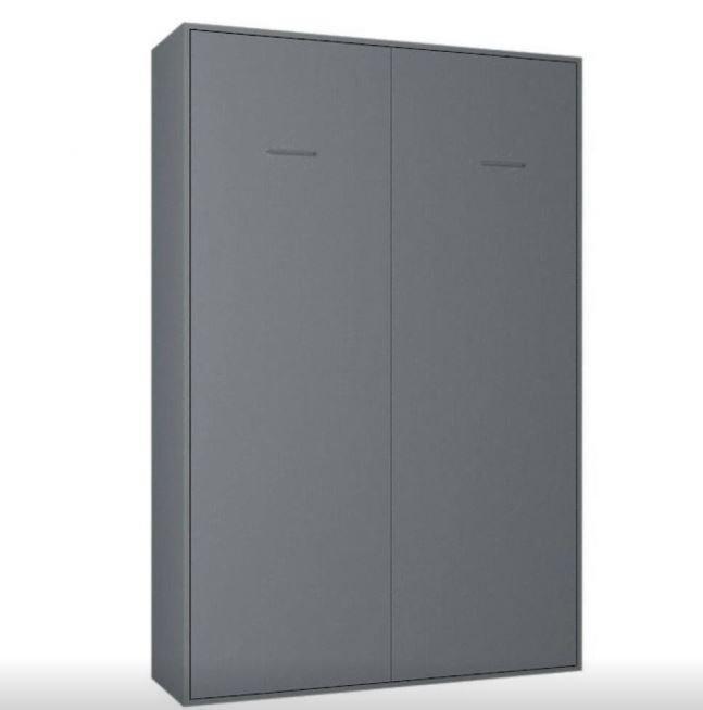 Composition armoire lit escamotable SMART-V2 gris mat Couchage 160 x 200 cm colonne bibliothèque