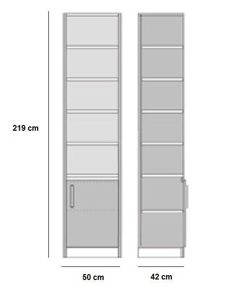 Composition lit escamotable style industriel TEKNO bi-ton chêne noir mat 140*200 cm L : 205 cm