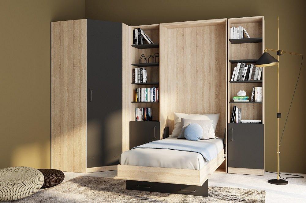 Composition  lit escamotable style industriel TEKNO bi-ton chêne noir mat 90*200 cm avec angle dressing