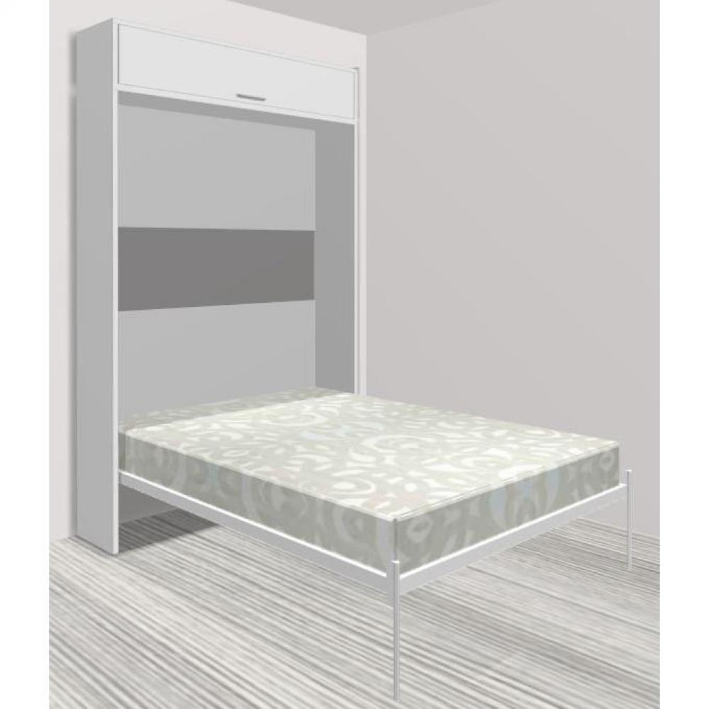 armoire lit escamotable verticale au meilleur prix armoire lit escamotable eos blanc mat. Black Bedroom Furniture Sets. Home Design Ideas