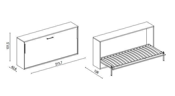 Armoire lit horizontale escamotable GUIZZO couchage 80 * 200 cm tablette bureau intégrée