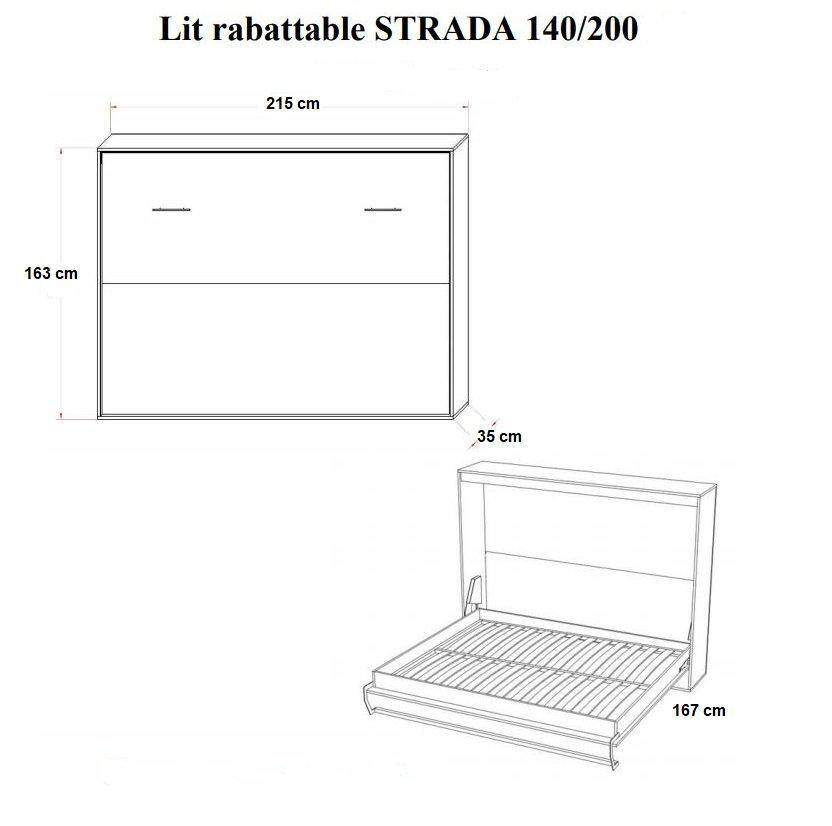Armoire lit horizontale escamotable STRADA-V2 structure gris graphite mat façade blanc brillant couchage 140*200 cm.