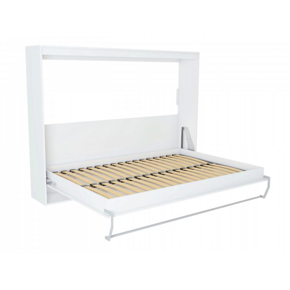 Armoire lit horizontale escamotable STRADA-V2 structure blanc mat façade blanc brillant couchage 160*200 cm.