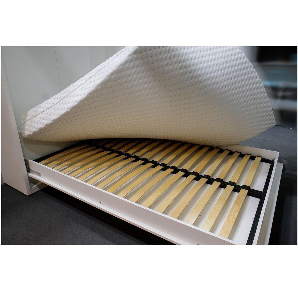 Armoire lit horizontale escamotable STRADA-V2 structure gris graphite mat façade blanc brillant couchage 90*200 cm.