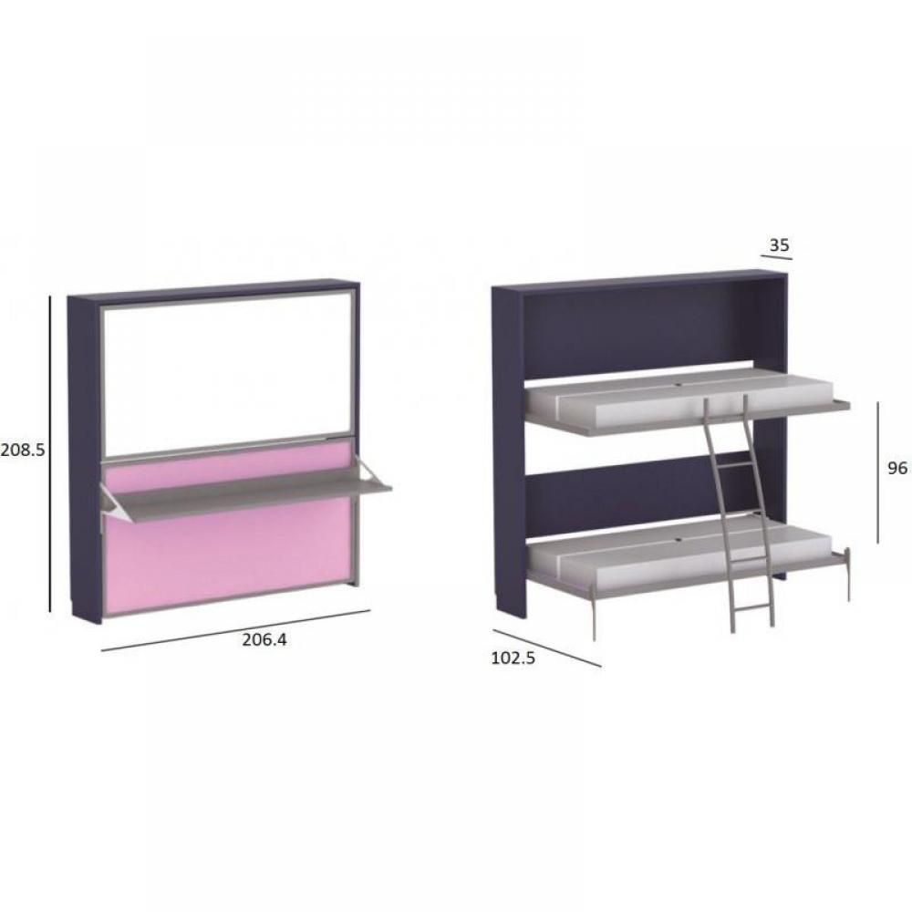 Armoire lit escamotable combin bureau au meilleur prix for Armoire de bureau blanche